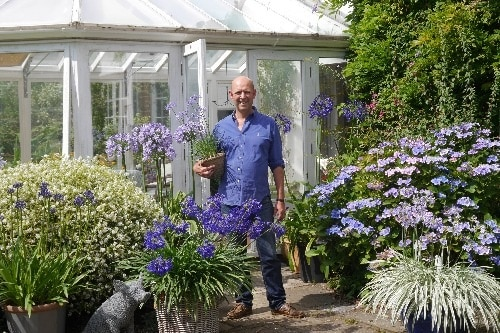 Patrick with agapanthus for website